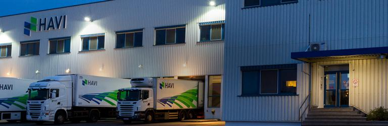 HAVI Distribution Center exterior at night